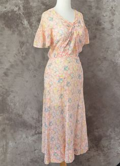 1930s+dress+pink+Floral+cotton+Sheer+XS+S+by+LaMeowVintage+on+Etsy,+$75.00