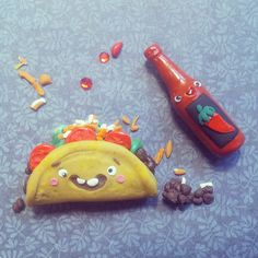 Taco and Hot sauce by I Do Cake Toppers, via Flickr