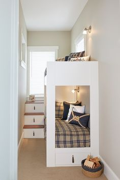 small bedroom with white bunk bed