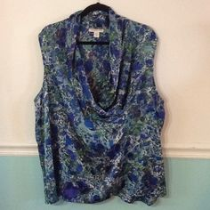 Cold Water Creek floral blouse with draped neck Cold Water Creek sleeveless blouse with draped neckline. Very pretty blues and greens. Silk like look. Very durable polyester. Size 3x / 24. Coldwater Creek Tops Blouses