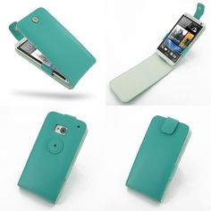 PDair Leather Case for The New HTC One 801e 801s - Flip Top Type (Aqua)