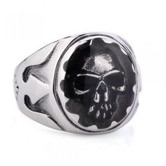Vintage Gothic Men's Skull Titanium Punk Ring with Niello Stlye
