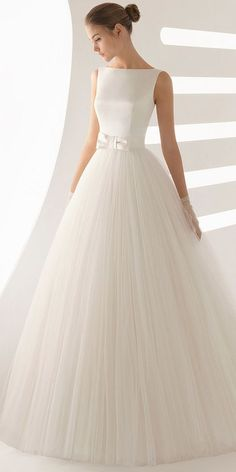 77f4c7a16d3 Simple Satin   Tulle Bateau Neckline A-line Wedding Dress With Bowknot M6872