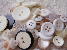 White and Cream Button Mix 10 to 30mm 30 to 50 Buttons by Spasojevich, $2.20