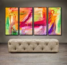 "'Colorful Thoughts II' - 48"" X 24"" Original Paintings . Free shipping within USA & 30 day return policy."