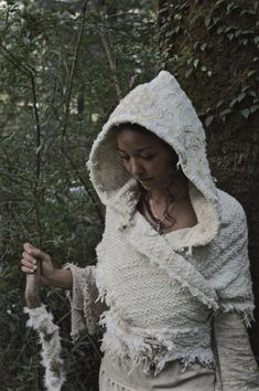 Queen Of Dream Forest Cream Warm Hood Poncho by AnuttaraCrafts