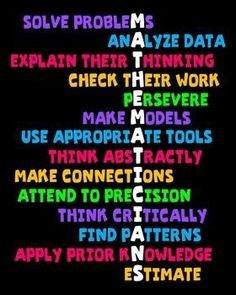 Math Classroom Poster - traits/skills of good mathematicians! (Black or white background with bright writing)