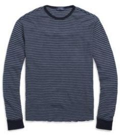 Ralph Lauren Waffle-Knit Cotton T-Shirt Navy/Blue Heather Xs