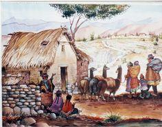 paisaje andino - Buscar con Google Peruvian Art, Peru Travel, Z Arts, Bolivia, Painting Inspiration, Art Prints, Landscape, World, Animals