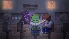 Exciting Times at the Mob Saloon by CocoKiCKZ - Mine Minecraft World Minecraft Ships, Minecraft School, Minecraft Comics, Minecraft Fan Art, Minecraft Wallpaper, Mine Minecraft, Minecraft Drawings, Monster School, Iphone Homescreen Wallpaper