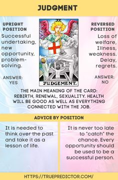The Judgment — tarot card interpretation and meaning — True prediction Judgement Tarot Card, Divine Tarot, Tarot Cards For Beginners, Tarot Card Spreads, Tarot Astrology, Tarot Major Arcana, Oracle Tarot, Tarot Card Meanings, Card Reading