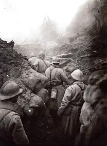WWI, A Front line trench, French soldiers