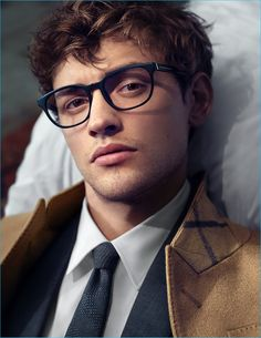 Josh Whitehouse wears smart optical frames for Mr. Burberry's new eyewear campaign.