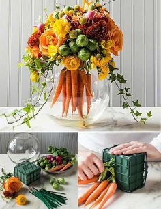Wedding Flower Arrangements 12 Ridiculously Cool Spring Centerpieces to Copy - Flower addicts already know that Spring offers prime pickings for gorgeous fresh blooms, but it doesn't have to stop there. These wildly creative centerpieces Ikebana, Deco Floral, Arte Floral, Floral Design, Floral Foam, Easter Flowers, Spring Flowers, Cool Flowers, Carrot Flowers