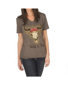 ATX Mafia Wild and Free Short Sleeve V-Neck Tee - Brown  http://www.countryoutfitter.com/products/55074-wild-and-free-short-sleeve-v-neck-tee-gray