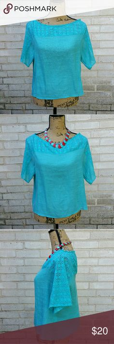 """Anthropologie Fig & Flower Peekaboo Blouse L Anthropologie Fig & Flower Bright blue peekaboo bodice blouse. Short Sleeve. Soft knit fabric with lacework top. Tagged size Large. Excellent condition. Measurements : Length 21"""" 18 1/2""""across front laying flat   #ravenkittystyle #anthropologie #blue #turquoise #large #figandflower #peekaboo #lacework #blouse #casual Anthropologie Tops Blouses"""
