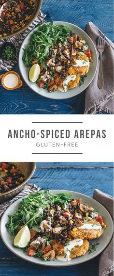 Anchos-spice arepas (corn cakes) that's gluten-free! Recipe here: https://greenchef.com/recipes/black-bean-arepas?utm_source=pinterest&utm_medium=link&utm_campaign=social&utm_content=black-bean-arepas