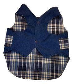 Denim and Blue Plaid Waistcoat - Chic Doggie Boutique - 1 Dog Clothes Patterns, Coat Patterns, Dog Safety, Boy Dog, Dog Items, Dog Jacket, Dog Wear, Blue Plaid, Blue Denim