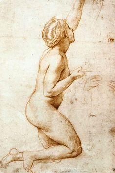 Kneeling Nude Woman by Raphael Sanzio, 1518 Art Experience NYC www.artexperiencenyc.com