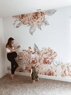 Blooming Rose wallpaper, Repositionable Wallpaper, Wall Mural, Hand drawing wall art– Peel and Stick, Wall decor, Art, Print  #30