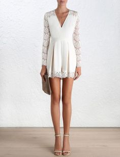 Crepe Lace Tuck Playsuit