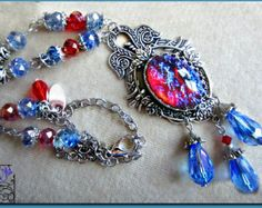 RESERVED Dragon's Breath Fire Opal Pendant by FantasiaElegance