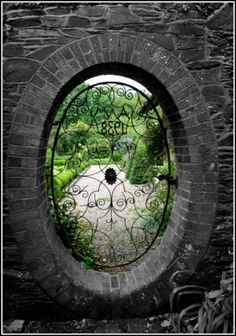 Pass through the Moon Gate, into another Realm. Garden Gates And Fencing, Fence Gate, Fences, Dream Garden, Garden Art, Garden Walls, Side Garden, Moon Gate, Gothic Garden