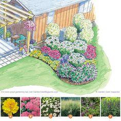 Patio design, garden design, lawn and garden, outdoor gardens, cement p Landscape Plans, Landscape Design, Garden Design, Patio Design, Front Yard Landscaping Plans, Backyard Landscaping, Landscaping Ideas, Flower Garden Plans, Design Jardin