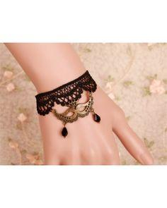 Vintage Gothic Black Lace Lolita Bracelet with Pendant