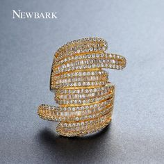 NEWBARK Brand Wide Design Handcraft Finger Ring Micro CZ Vintage Rings For Women Gold-color Jewelry Big Valentine's Day Gifts