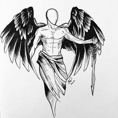 Tattoo Back Mens Angel - Tattoo Forearm Tattoos, Body Art Tattoos, Hand Tattoos, Sleeve Tattoos, Tattoos Skull, Angel Sketch, Angel Drawing, Small Chest Tattoos, Chest Piece Tattoos