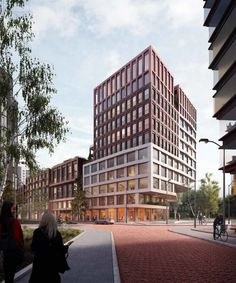 BETA office for architecture and the city Space&Matter Amsterdam Kop Zuidas exterior render by Vismo. School Architecture, Architecture Plan, Contemporary Architecture, Balcony Railing Design, Mix Use Building, Architecture Visualization, Commercial Architecture, Facade Design, Amsterdam