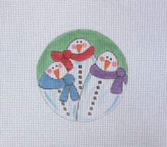 Adorable Snowman Trio Handpainted Needlepoint Canvas #Unbranded
