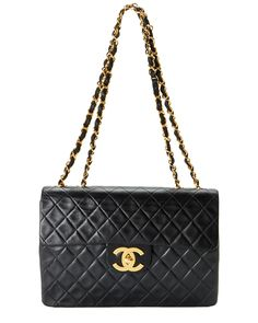 Spotted this Chanel Vintage Black Quilted Lambskin Maxi Flap Bag on Rue La La. Shop (quickly!).
