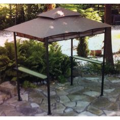 canopy for barbeque | Walmart 8u0027 x 5u0027 BBQ Grill Canopy Replacement 1694157 Garden & Grill Gazebo Counter-top Canopy Outdoor Patio Garden Rain Sun Heat ...