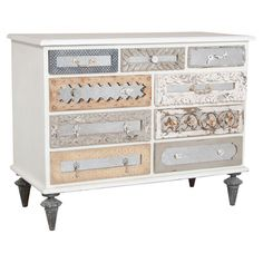 Brimming with eclectic elegance, this distinctive chest showcases 9 drawers defined by a melange of hand-carved details. Mirrored panels add a touch of glamo...