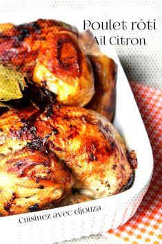 Poulet roti très tendre au citron et a lail Chicken Kabob Recipes, Chicken Kabobs, Diced Chicken, Lemon Chicken, Roasted Chicken, Tandoori Chicken, Meat Recipes, Cooking Recipes, Healthy Eating Tips