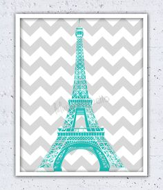 Like the idea but something besides the Eiffel Tower since I haven't been to France. Paris Room Decor, Paris Rooms, Paris Bedroom, Paris Theme, Teal Room Decor, My New Room, My Room, Girl Room, Tour Eiffel