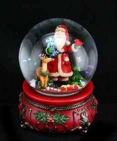 Gisela Graham Christmas Musical Decoration Traditional Santa and Reindeer Snowglobe