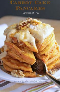 Vegan Carrot Cake Pancakes w/ Sweet Cashew Cream Cheese - Perfect for Easter morning, these pancakes are easy, delicious, fun and healthy. A veggie packed breakfast that your kids will eat!