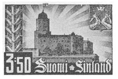 In the beginning of the continuation war against the soviet union (19411944), Finnish nationalism and Political-military propaganda were at their loudest in the stamp imagery. The 1941 'Re-conquest of Vyborg' stamp touted the military take-over of a city that had been Finland's second most important economic and demographic centre before its cession to the Soviet Union after the Winter War (19391940). [not my caption]