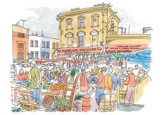 Ridley Road and Kingsland Butchers - Limited Edition Print - East End Prints East End London, London Map, Artwork Prints, Framed Art Prints, Poster Prints, Summer Colors, Letterpress, Illustration, Sketches