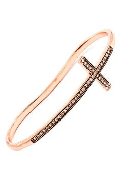 Cross Bangle Hand Bracelet $25 -- Metal casting hand bracelet (bangle that is worn on the hand, not the wrist). Clear crystal studs embellish a textured cross design. ♥ 21 mm width. ♥ Lead compliant. ♥ Imported.