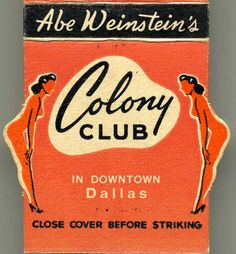 Colony Club matchbook cover.