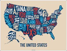 United States Map by Ork Posters 24 x 18 by orkposters on Etsy, $22.00