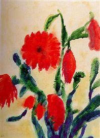 Cacti with Red Flowers - Emil Nolde - The Athenaeum Emil Nolde, Global Art, Botanical Art, Art Market, Red Flowers, Watercolor Paintings, Rooster, Shapes, Fine Art