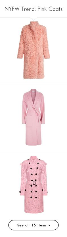 """NYFW Trend: Pink Coats"" by polyvore-editorial ❤ liked on Polyvore featuring NYFW, pinkcoats, outerwear, coats, jackets, coats & jackets, light pink, fuzzy coat, red coat and midi coat"
