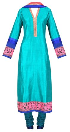 Teal blue straight kurta set with pink embroidery by MANISH MALHOTRA. Shop at https://www.perniaspopupshop.com/manish-malhotra/manish-malhotra-3427