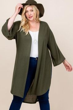 Made In U.S.A 1XL.2XL.3XL Plus Size Solid Hacci Brush Open Front Long Cardigan with Bell Sleeves 74% Rayon 22% Polyester 4% Spandex Olive EME Plus Size Solid Hacci Brush Open Front Long Cardigan With Bell Sleeves Plus Size Cardigans, Plus Size Tops, Open Front Cardigan, Long Cardigan, Olive Green Cardigan, Cardigan Sweaters, Cardigan Design, Cardigan Styles, Lightweight Cardigan