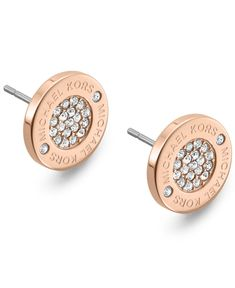 Michael Kors Rose Gold-Tone Crystal Pave Logo Stud Earrings - Fashion Earrings - Jewelry & Watches - Macy's